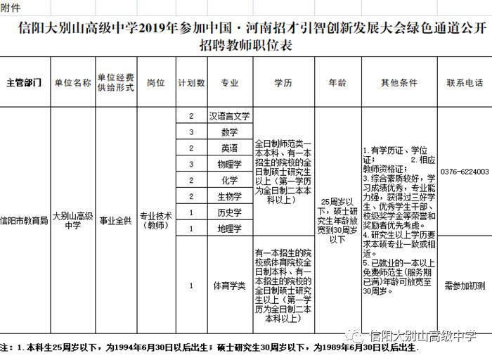 2019信阳大别山高级中学招聘教师17人告示